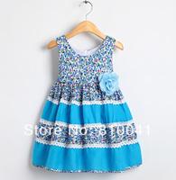 Floral Girls Dress Kids Cotton Dresses For 2014 Summer Children Dresses Girls Cute Princess Dress 3-8 Year old School Clothing