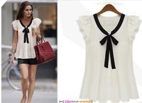 2013 good quality fashion style shirts women's plus size chiffon shirt short-sleeve top women's blouse Size S-XXL  Free shipping