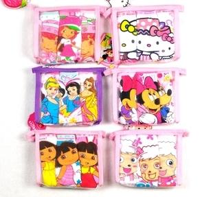 Free shipping girls' panties,100% cotton ,5 patterns,Minny,Strawberry gril,kitty,dora,princess,children' panties ,3pieces/bag