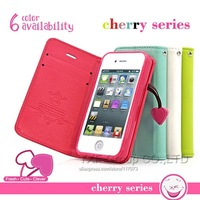 Cherry Series PU Leather Case For iPhone 5 5S 5C 4 4S Flip Cover Stand Function Wallet Pouch With Card Holder Holster YXF00292