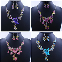 Free Shipping Hot Fashion Mixed Butterfly Necklace Earring Set 4 Sets Great Discount Wholesale Bulk