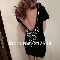Women's Sexy Backless Lady Club dresses Above Knee Short With Shiny Rivet  Mini Black Evening Party Dresses 652360