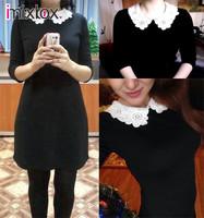 Sexy Slim Lady Woman lace collar dress Black Mini Dress Lace dress S M L