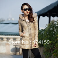Down coat female personality multi-layer zip slim medium-long interspersion european version of the rabbit fur down coat