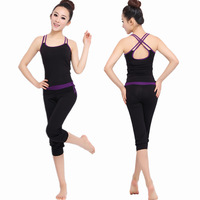 Yoga Clothes Cropped Trousers Set  Fitness Clothing Aerobics Summer Modal For Women With big Discount