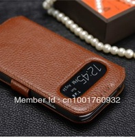 For Samsung Galaxy S4 IV I9500 Latest Design Open Window Display function Genuine leather skin flip case cover free/drop shiping