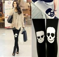 Hot!! Skull Leggings Cotton Skeleton Patch Leggings for Women Punk Rock Knitted Pants 2014 Fall Fashion