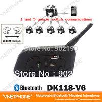 newest  wireless Motorcycle Helmet intercom Bluetooth Intercom for 6 Riders Interphone 1200m helmet Headset Mp3 Music GPS