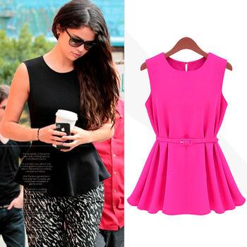 Free shipping 2013 Womens Chiffon Vest Top Tank Sleeveless Shirt Silm Vogue Trend Blouse Shirt Cliffon Belt S M L XL #L0341191