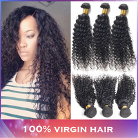 Best Selling mixed length 3pcs/lot Virgin Brazilian Human Hair Extensions Deep Curly 10-26'' natural color DHL free shipping