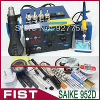 220V or 110V Brand  Saike 952D  hot air gun+soldering iron+Wind firearm frame  soldering station for welding, free Shipping