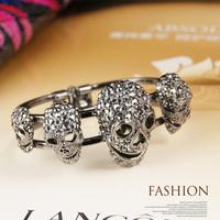 skull bracelet gold skull bangle cuff for women gold minecraft skeleton rhinestone skull bracelets bangle
