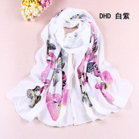 2013  fashion style women autumn and winter hot pink butterfly chiffon scarf designer scarf (Min order is $6