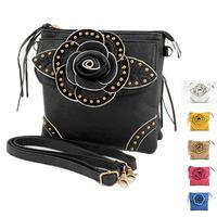 Hot sale Five color fashion women's flower PU leather rivet messenger bag small pouch wallet punk handbags zipper clutches
