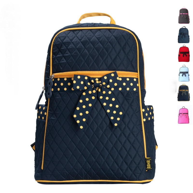 "Preppy style Girl's Lovely Bow & Polka Dot Large capacity backpack schoolbag fit in 15"" Laptop(China (Mainland))"