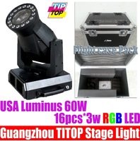 Discount Price Free Shipping+Flightcase+1x60W BeamLed Moving Heads Light 16pcs 3W Tricolor Led,12/30DMX CH, Power Moving Light