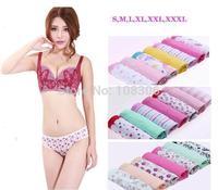 Free Shipping Ladies 100% antibiotic cotton underwear mid-waist briefs Women trigonometric Panties 7pcs/lot