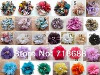 32colors wholesale 2 inch mini chiffon pearl  diamond  flowers heads  flowers for hair headbands DIY Photography Props 50pcs/lot