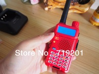 Dual Band 8W UHF 400-470MHz & VHF 136-174MHz FM VOX DTMF ANI-ID TONFA UV-985 CB Radio Walkie Talkie Red with earphone