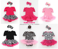 Free Shipping 2pcs Infant Newborn Kids Children Baby Girl Headband+Bodysuit Jumpsuit Top Tutu Clothes Outfit Skirt Zebra Leopard