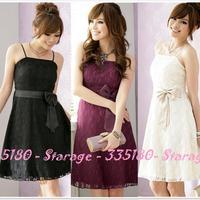 Elegant Women Plus Size Spaghetti Strap Bridesmaid Dresses Ladies Lace Party Dress Short Formal Dress Black/Beige/Purple 1224