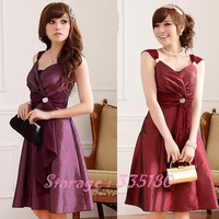 2014 Gorgeous Princess Sweet Heart Slim V-neck Diamond Buckle Strap Formal Dress Cocktail Dress for Dinner/baquet L~3XL 9506
