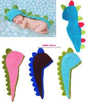 Free Shipping 1pc Baby Girl Boy Kid Infant Newborn Toddler Top Sweater  Hat Cap Crochet Knit Clothes Photo Prop Dinosaur Dragon