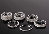 ZH0272 High quality  Fashion 1/2/34/5/6 Rows Rhinestone Wedding Bridal Bracelet Bangle Bling Wristband Women Jewelry