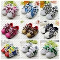 Hot sale(1 pair to retail) baby grid stripe soft sole first walker shoes 9 designs