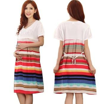 Maternity dress stripes plus size Breast feeding Sleepwear Nightgown For pregnant ...