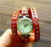 Free Shipping designer leather clock women fashion ladies quartz watch luxury watches women fashion rivets punk