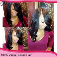 2014 Top Fasion Free Shipping Cheap Wavy Virgin Human Hair Wigs New Arrival Human Half  Wig 3/4 130% Density Malaysian U Part
