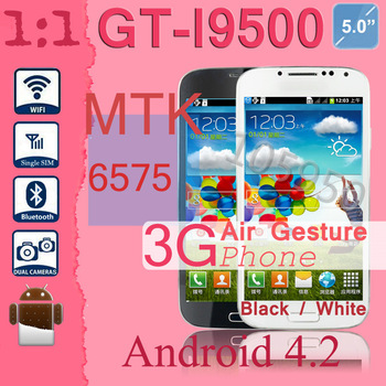 Free Shipping in stock Bluetooth i9500 S4 Android Phone MTK6575 5.0 inch Capacitive Screen 512MB 4GB Android 4.2 Dual Camera