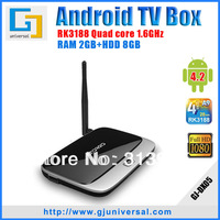Hot 2013 New arrive Quad core TV Box RK3188 Cortex-A9 2G RAM 8G ROM Build-in WiFi RJ45 AV HDMI remote Android 4.2 Smart TV Box