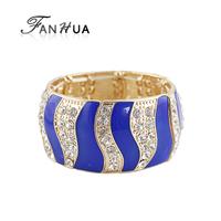 Blue Enamel Elastic Stripe Rhinestone European Bracelets Bangles Fashion Designer Aliexpress Pulseras