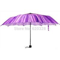 2014 Novelty Items Three Folding Purple Daisy Flower Women's Umbrella The Parasols Rain Umbrellas Free Shipping