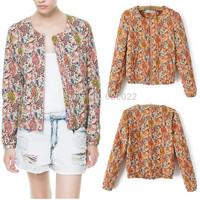 2013 NEW ZA Women's Crew neck Splendid Floral Print Paisley Long Sleeve Zipper Jacket Ladies Coats Suits Free Shipping