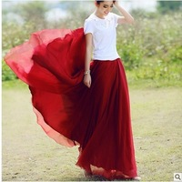 New Hot sale 8 meters expansion bottom bust fashion chiffon pleated long skirt mopping the floor half length skirt Free shipping