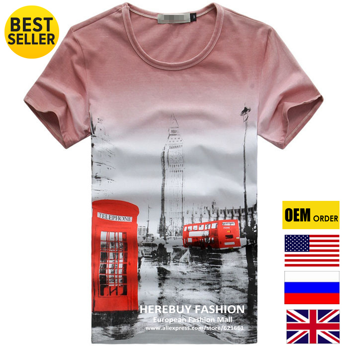 Men's Tops & Tees Spring 2014 T Shirt O Neck Short Sleeve Summer Fashion Male Scenery Print Routemaster Bus Tower Of London HOT(China (Mainland))