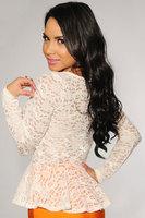2014 autumn women clothing long sleeve Floral women  Blouse Shirt Sheer Lace Peplum Top women work wear