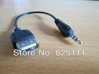 FreeShipping  USB 2.0 A Female to 3.5mm aux 1/8 audio Male M/F adapter Charge converter Cable