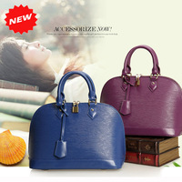 2014 Women Totes Summer Fashion Candy Colors Genuine Leather Handbag Designers Brand Name Water Ripples Shell Shape Bag, Q0303L