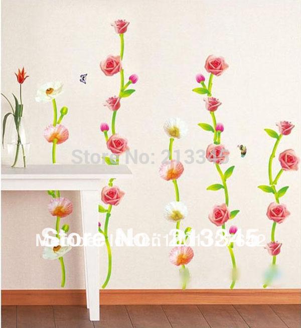 [saturday Monopoly] Diy Wall Stickers Home Decor Roses Rattan Wicker Cabinet Flower Plant Flores Sofa Vinilo Decorativo Paredes(China (Mainland))