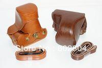 Wholesale! camera bag PU leather case for panasonic lumix GF3 GF5 GF6 (14-42mm lens) camera case leather bag brown & coffee