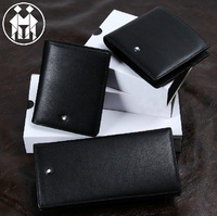 Free Shipping ! Classic Styles men's luxurious Genuine Leather Wallet, Pure Black Wallet.Drop shipping