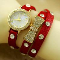 New Hot Sales Gift Wrist Watch Rhinestone Quartz Leather Strap Girls & Women Butterfly Bracelet,Women Dress Watch,Gift Watch