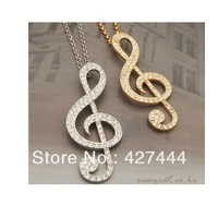 Full rhinestone fashion jewelry Crystal Clear Music Note Long Necklace Necklaces for women
