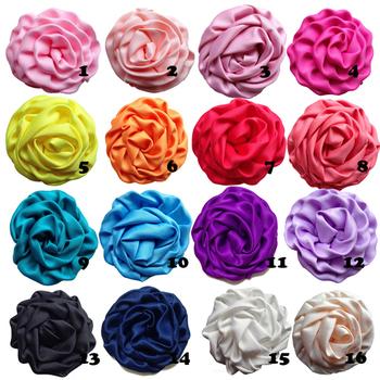 Hair accessory 2.8'' Rosettes DIY rose flower satin silk carnation flower fabric flower Flat back 20pcs/lot