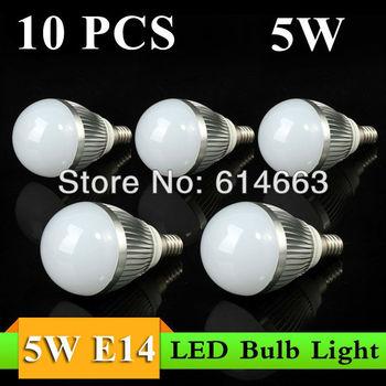 10pcs/lot Free Shipping 2013 new hot sales High quality E14 5W AC85~265V Cool White/Warm White LED Bulb Light Lamp