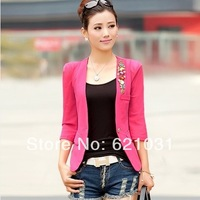 New Arriva Free Shipping 2014 Blazer Womens Half Sleeve Gauze Patchwork Blazers Candy Color One Button Blazer  For Women